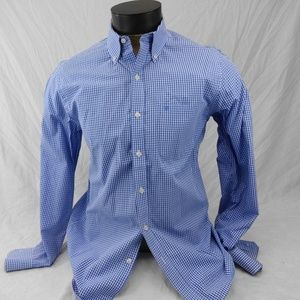 IZOD Men's Blue & White Checked Dress Shirt Medium